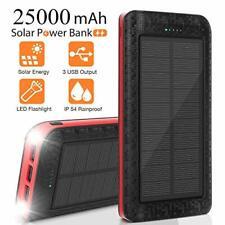 AMAES Cargador Solar Banco De Energía Solar Portátil De 25000mAh Batería externa de respaldo,