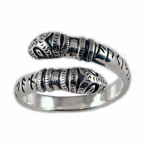 Drachenkopf Ring mit Runen 925er Silber Gr: 52-60 Mittelalter Wikinger Germanen