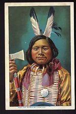 INDIEN  costume  plume hache carte éditée pour BUFFALO BILL'S WILD WEST