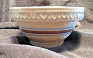 "Vintage Robinson Ransbottom Yellow Ware Bowl Striped 5.5"" CA"