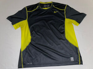 Nike Pro Combat Dri-Fit Fitted Men's XL Athletic Short Sleeve Shirt Black/Yellow