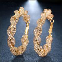 Women Fashion Luxury Round Earrings Crystal Geometric Hoop Earrings Jewelry 8C