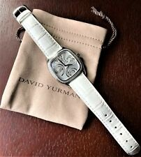 Watch White Leather Stainless Steel David Yurman Diamond Bezel Magnified Numbers