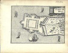 Antique map, Fort de Blavet (Port-Louis, Brittany)