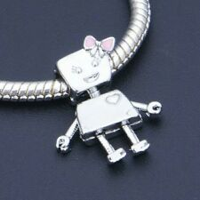 Bella Bot Robot Pink Bow Charm For Bracelets Silver Plated Style european