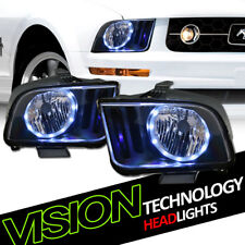 Black Housing LED Halo Angel Eyes Headlights Headlamps Nb For 05-09 Ford Mustang