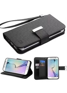Black D'Lux MyJacket Wallet with Button Closure 671 SAMSUNG For Galaxy S6 Edge