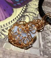 """EXQUISITE HAND CRAFTED GOLD WIRE-WRAPPED BLUE LACE AGATE CRYSTAL PENDANT  1-1/2"""""""
