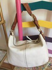 Coach Soho Large Pebble Leather Handbag #11839 WhiteBag/Cognac Strap/Brass Hdw