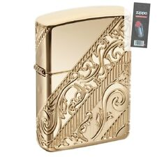 Zippo 29653 Armor 2018 Collectible Gold Plated Scroll COY Lighter + FLINT PACK