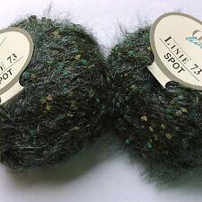 LOT of 2 ONline Linie 73 Spot #17 Teal Eyelash Yarn Multicolor Green Dots Soft!