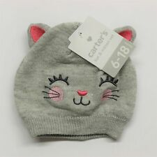 Carter's Baby Hat & Mitten Set Ages 6-18 Months - Grey Kitty Cat