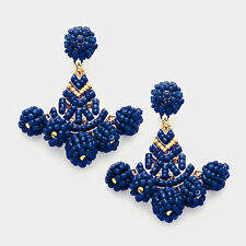 DESIGNER INSPIRED NAVY BLUE BEADED MULTI BALL STATEMENT EARRINGS