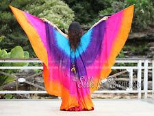 tie-dye turquoise-purple-pink-orange belly dance 8mm silk wing=2pcs double veils