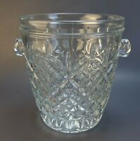 """Vintage Ice Bucket Pressed & Cut Glass w Handles 8.5"""" Tall Unsigned"""