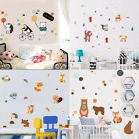 Bear Fox Wall Sticker Cartoon Animals Vinyl Decal Kids Baby Room Wall Ar Decor
