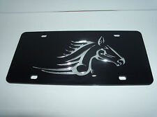 Horse Tribal  Mirror Laser License Plate Black/Silver  NEW!!