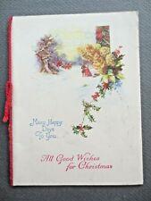 VINTAGE Christmas Card 1930s Crinoline Lady & Regency Gent Awaiting Coach Holly