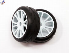 17mm Hex 40mm Wide 103mm Diameter White Wheels With Foam & Road Tyres 1/8 Car S1