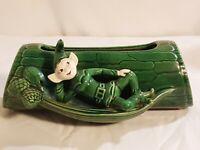 Vtg Sprite Planter Elf Pixie Treasure Craft Log Hiding Green on Green