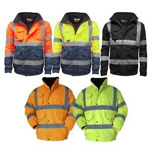 Mens Hi Viz High Visibility Bomber Safety Work Black Hooded Jacket Coat All Size