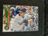 2020 Topps Holiday Christian Yelich Candy Cane Bat SSP Code 72 Brewers