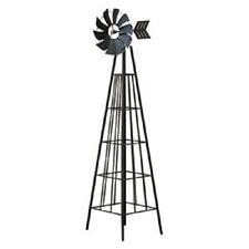 6 Ft Rustic Garden Windmill Obelisk Steel Trellis Decor Backyard Climb Plant New