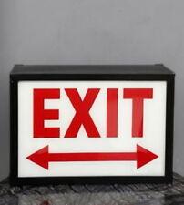 EXIT Light Up Box UK Mains Plug 240v Red White Metal Sign Retro Lightbox