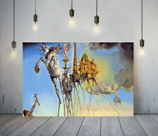More details for dali temptation of st anthony- framed canvas wall art picture paper print- blue