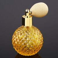 US 100ml Crystal Perfume Bottle Yellow Short Spray Atomizer Refillable Glass