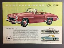 1959 Mercedes Benz Type 190 SL Showroom Advertising Sales Sheet RARE!! Awesome