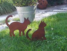Edelrost Optik Katzen Set Tiere Garten Terrasse Beet Figur Skulptur Katze Tiger