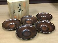 Y1039 DISH Copper CHATAKU signed box plate Japanese Tea Ceremony japan antique