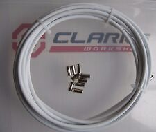 3 X METRES WHITE BRAKE OUTER CABLE / HOUSING with 10 Metal End Ferrules *NEW*