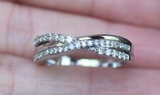 New 10K Size 7,8 1/3ct Diamond Criss Cross Wedding Band Bypass Ring White Gold