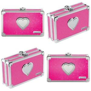 Vaultz Locking Supply Box, 8.5 x 2.5 x 8.5 Inches, Pink Bling with Heart (VZ0370