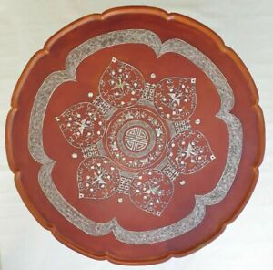 Beautiful Oriental Red Lacquer and Mother of Pearl Centre Coffee Table