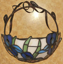 """PartyLite Stained Glass Wall Sconce Purple-Blue Iris Votive Candle Holder 8"""" Exc"""