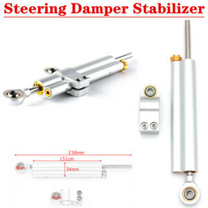 Silver Motorcycle Scooter CNC Aluminum Steering Shock Absorber Linear Stabilizer