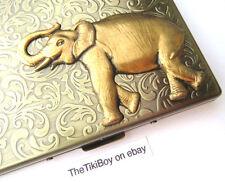 Big Brass Elephant Oversized Business Card Cigarette Case Smoking Jungle Animal