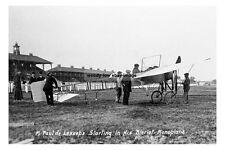 pt0646 - M Paul de Lesseps & Biplane at Doncaster Aviation Meeting - photo 6x4