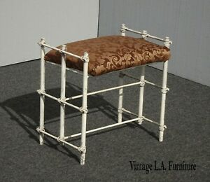 Vintage Hollywood Regency White Iron Vanity Bench