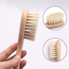 Newborn Baby Brush Wooden Hairbrush Natural Hair Brush Soft Bristles Scrub Brown