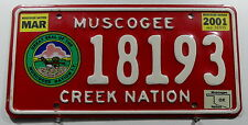 "USA Nummernschild Indianer Oklahoma ""MUSCOGEE CREEK NATION"" mit Wappen. 11545."