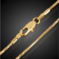 18k feine Goldkette 1MM für Anhänger vergoldet 60cm lang Panzerkette Halskette