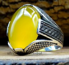 AGATE YELLOW STONE TURKISH 925 STERLİNG SİLVER MENS MANS Ring US ALL SİZE 333