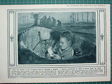 1915 WWI WW1 PRINT ~ BRITISH GUN-POSITION AT NIGHT OFFICER DUG-OUT TELEPHONE