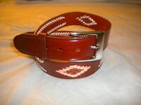 BRAND NEW MEXICAN BELT 100% LEATHER LIGHT BROWN 1 1/2 IN SNAP BELT SILVER BUCKLE