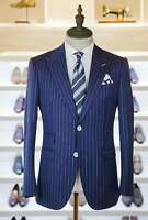 Navy Blue Men Stripe Suit Groom Tuxedo Wedding Suit Prom Dinner Party Suit