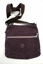 "Ladies KIPLING Plum Purple Nylon Adjustable Crossbody Bag 9.5"" Preloved - S38"